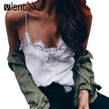 Vlent Camisolas Women Chiffon Tops Crochet White Lace Camisole  Off Shoulder Fringe Sexy Sleeveless Shirt Women Strap Top Blusa