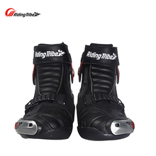 Riding Tribe Men Motorcycle Riding Boots Motorbike Racing Leather Waterproof Winterproof Anti-skid Wear-resistant Shoes A009