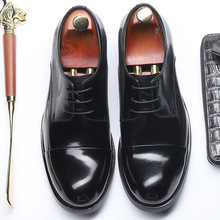 QYFCIOUFU 2019 Male Genuine Leather Shoes Round Toe Men Dress Shoes Lace-up High Quality Business Leather Shoes Black Flats