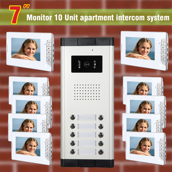 10 units apartment intercom system video doorbell intercom system for apartments video door phone night vision camera 7tft lcd free disturb wired audio video door intercom system with night vision monitor doorbell for 10 apartments of 1 building