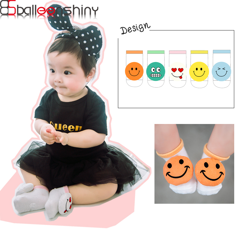 BalleenShiny 2Pcs/set Funny Emoji Doll Socks Infant Toddler Non-slip Cotton Short Socks  ...