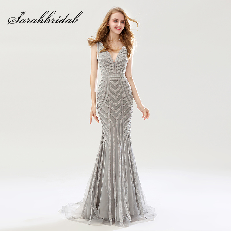 2018 Beauty Silver Beading Mermaid   Evening     Dresses   Sexy Tulle V-Neck Long Women Important Party   Dress   Luxury Prom Gowns OL476