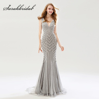 2018 Vẻ Đẹp Bạc Beading Mermaid Evening Dresses Sexy Tulle V-Cổ Dài Phụ Nữ Quan Trọng Đảng Ăn Mặc Sang Trọng Prom Gowns OL476