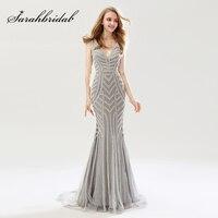 2018 schönheit Silber Nixe Abendkleider Sexy Tüll V-ausschnitt Frauen Wichtig Partykleid Luxus Abendkleider OL476