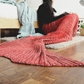 Gifts Fun Crochet Mermaid Tail Fin Snuggie Blanket Adult Sleeping Bag Warm Fabric Knitted Manta Sofa Throw Blanket Factory Sale