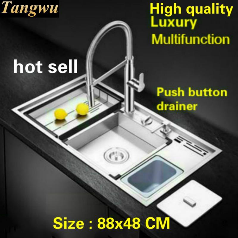 Tangwu Luxury Advanced Kitchen Sink Food Grade 304 Stainless Steel  Manual Large Single Slot Durable 88x48x21 CM