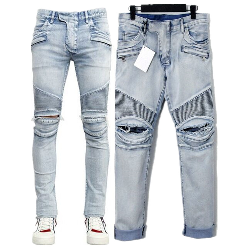 451a533d Mens Skinny Jeans Men Runway Distressed Slim Elastic Ripped Jeans Denim  Biker Jeans Hip Hop Pants Acid Washed Jeans For Men