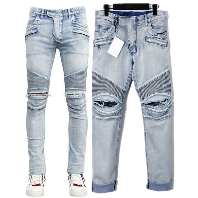 Mens Skinny Jeans Men Runway Distressed Slim Elastic Ripped Jeans Denim  Biker Jeans Hip Hop Pants Acid Washed Jeans For Men