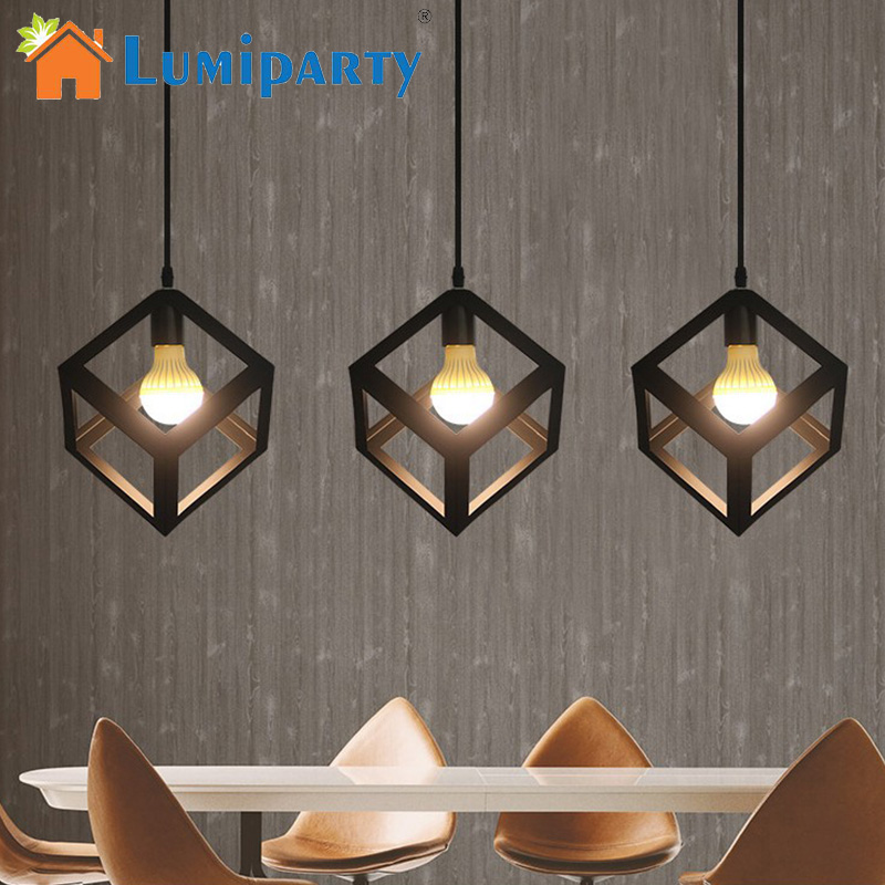 LumiParty LED Pendant Light Industrial Cube Metal Pendant