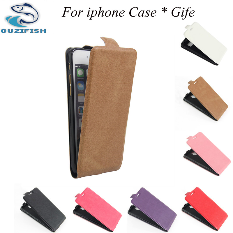 OUZIFISH PU Leather Case for iPhone 6 6S PLUS 4.7 Flip Cover Case for iPhone 7 plus Leather Cover for iPhone 4 4S SE 5S 5 5C