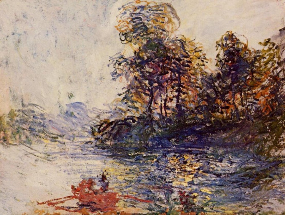 High quality Oil painting Canvas Reproductions The River (1881) By Claude Monet hand paintedHigh quality Oil painting Canvas Reproductions The River (1881) By Claude Monet hand painted