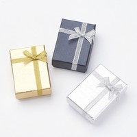 PANDAHALL48pc Card board Necklace Bracelets Gift Boxes with Ribbon Bowknot and Sponge Inside Rectangle Gold,7x5x2.5cm
