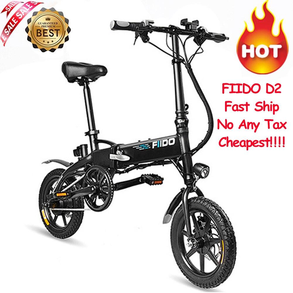 Livraison rapide FIIDO D2 vélo électrique intelligent pliant vélo électrique cyclomoteur vélo 7.8Ah batterie avec Double freins à disque