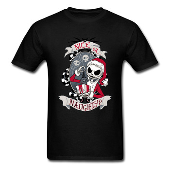 Scary Santa Nightmare Before Christmas Jack T Shirt Horror Skull Skeleton Summer Fall Round Neck Cotton Tshirt Men Saints Day