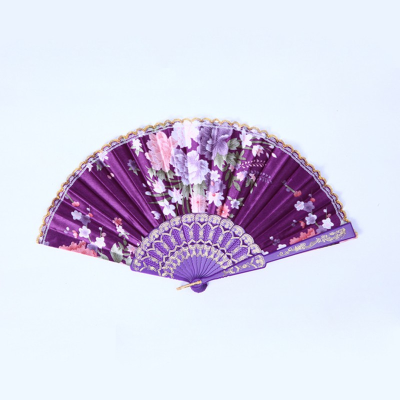 Chinese Flower Floral Fabric Lace Folding Hand Fan Dancing Wedding Decor Hot Sale