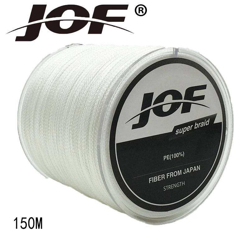 JOF 4 Strands 150M PE Braided Fishing Line Multifilament Fishing Line Wire Gray/Yellow/Blue/Green/Orange/ Rose Red 8-100LB