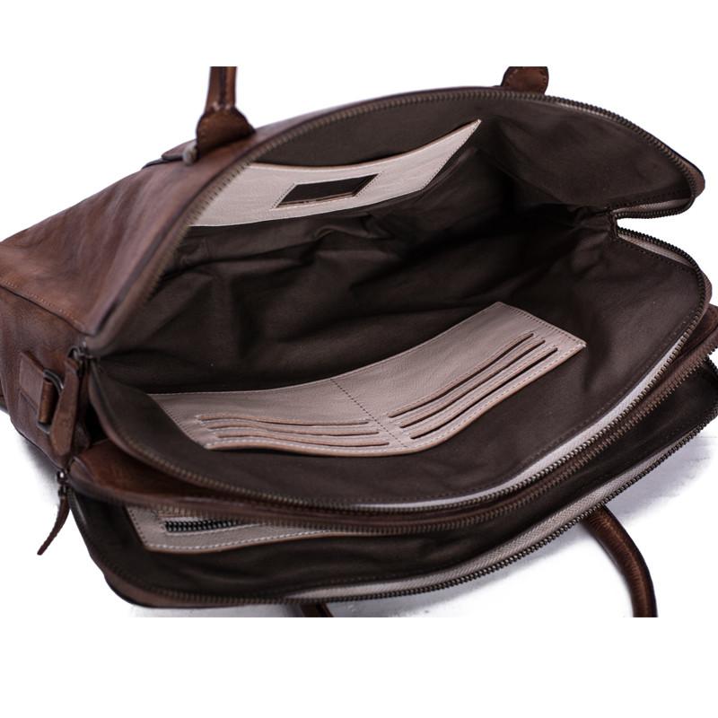 Vintage Vegetable Tanned Men Leather Briefcase Messenger Bag Laptop Bag 6