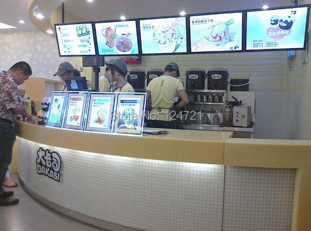 Super slim levou painel de parede de acrílico quadro a3, mesa de luz para o restaurante placa do menu 10 pçs/lote