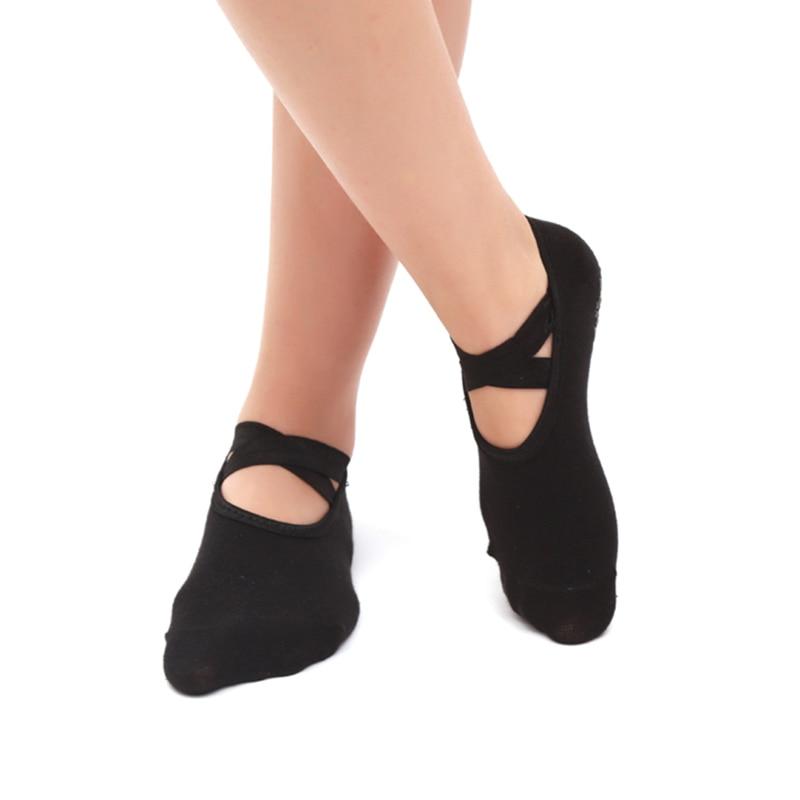 Round Toe Yoga Socks For Women Anti-Slippery Bandage Breathable Pilates Ballet Dance Socks Casual Girl's Backless Sports Socks