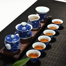 High Quality Blue-And-White Tea Sets Chinese Kung Fu Set Porcelain Gaiwan Hand Made Cup And Saucer Teapot Kettle