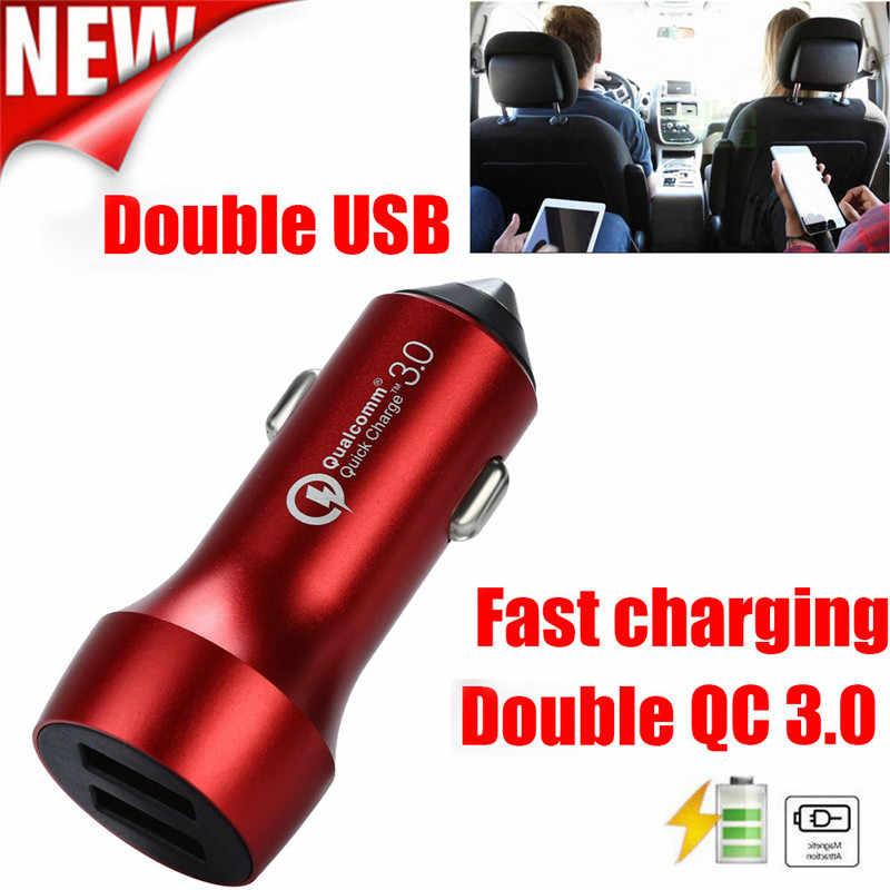 kongyide Car Charger Double QC3.0 Dual USB Car Charger 2 Port 12-24V Cigarette Socket Lighter Smartphones dropship mar5
