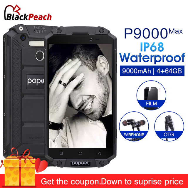 """POPTEL P9000 Max 9000mAh IP68 wateproof 5.5"""" FHD Mobile phone Android 7.0 MTK6750 Octa Core 4GB 64GB 13MP NFC OTG Smartphone"""