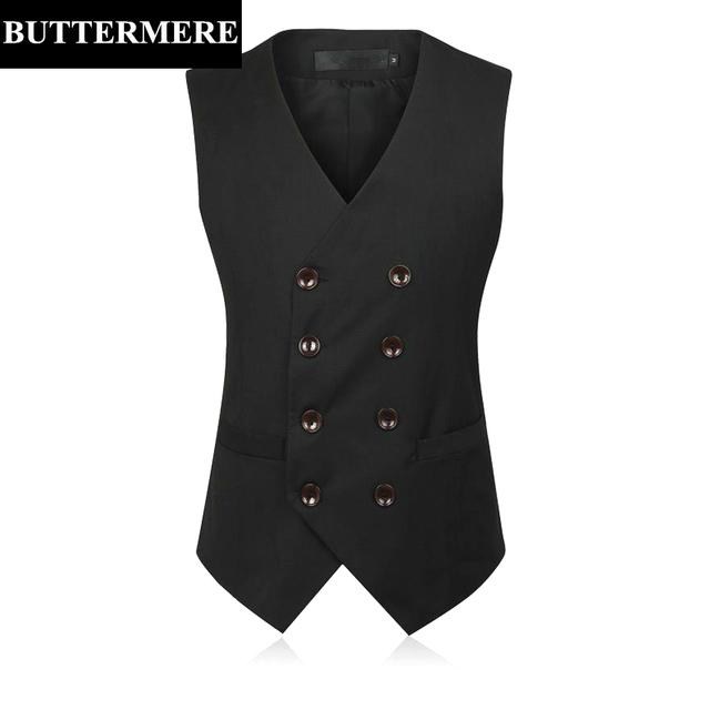 Dupla Colete Terno Breasted dos homens Black Grey Vestido Gliet Colete Estilo Britânico Terno Formal Casaco Sem Mangas Blazer de Algodão
