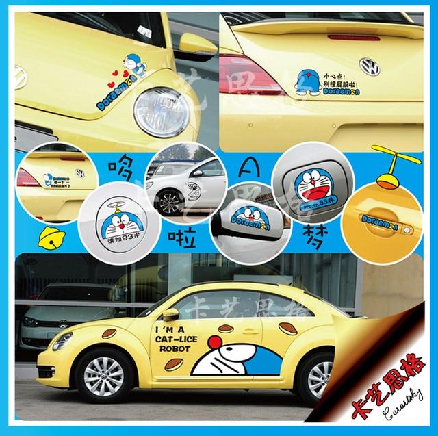 Car sticker cartoon blue DORAEMON tinker bell car stickers rear view mirror fuel tank cover engine cover