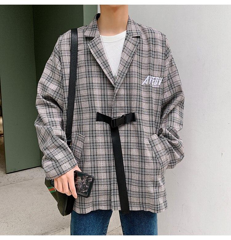 Loose De Hip Plaid Moda Harajuku Hombre Los caqui Ropa Hombres Gris  Streetwear Casual Traje Hop Oscuro Japón Primavera Abrigo Otoño Chaqueta  Ax7Ang aa1f0c861de