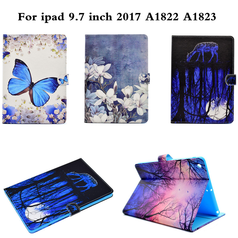 A1822 A1823 Model Fashion Cute Cartoon Case For Apple New iPad 2017 9.7 Smart Cover Funda Tablet PU Leather Flip Stand Shell