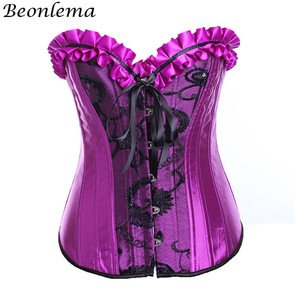 Image 2 - Beonlema Steampunk สีม่วงเซ็กซี่รัดตัวชุด Gothic Korset Punk Goth ฉัตรกระโปรง Overbust Bustiers Lace Up Top Plus ขนาด Korse