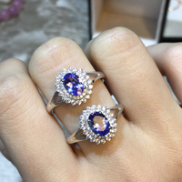 ZT Romantic Women 925 Sterling Silver Rings Two White Or Rose Color Rings 4A Blue Tanzanite