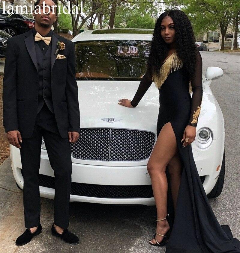 Sexy noir sirène manches longues robes de bal 2K19 Plu taille or dentelle Appliques filles africaines formelles robes de fiesta largos