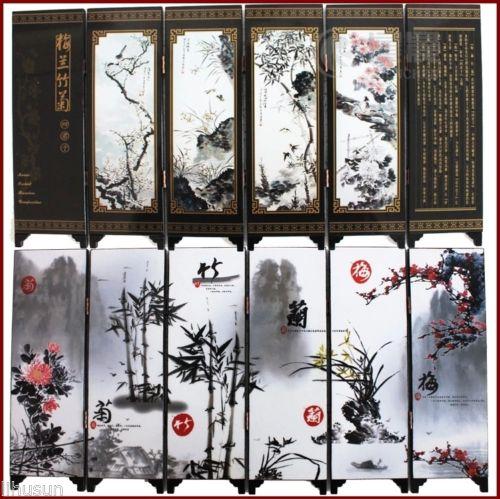 100% Wahr Chinesische Handgemachte Vintage Blume & Pflanze Holz Lack Sechs Stücke Paravent