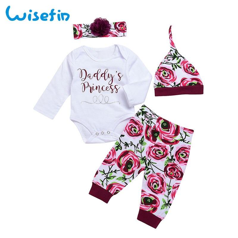 Babykleding Print.Wisefin Baby Meisje Kleding 4 Stuk Bloemen Print Pasgeboren Baby