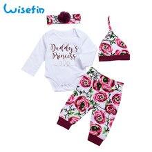 Wisefin Infant Mädchen Kleidung 4 Stück Blumendruck Neugeborenen Baby Mädchen Kleidung Herbst Langarm Kleinkind Kleidung Baby Set