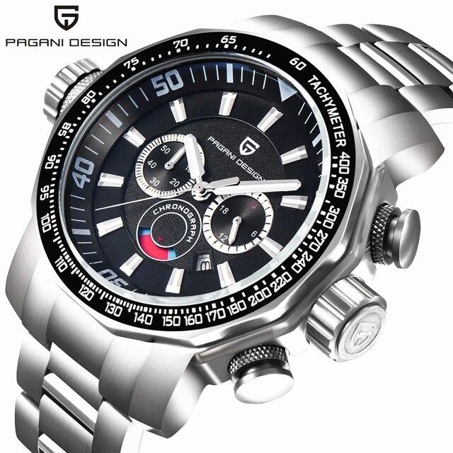 PAGANI DESIGN Dive Military Watches Men Luxury Brand Full Stainless Steel Big Dial Quartz Watch Relogio Masculino 2016 Clock Men