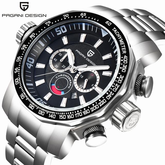 Pagani design de mergulho militar relógios homens luxo marca completa de aço inoxidável grande mostrador do relógio de quartzo relogio masculino 2016 relógio dos homens