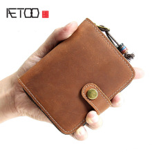 цены на AETOO Original handmade retro men's leather short wallet leather wallet casual zipper purse tide men's bag  в интернет-магазинах