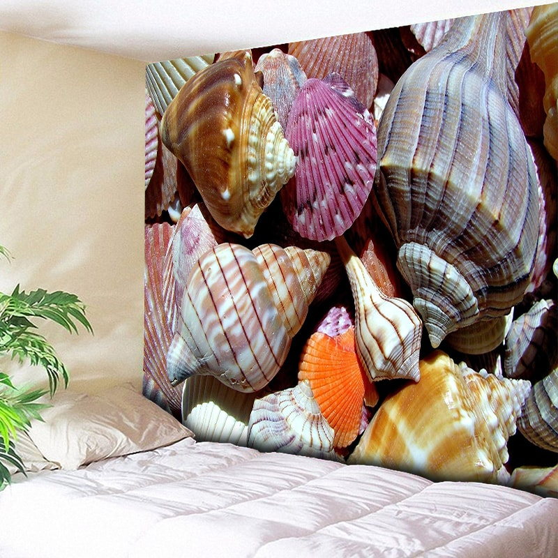 3D Conch Print Mandala Tapestry Beach Wall Hanging Indian Tapestries Art Starfish Decorative Purple