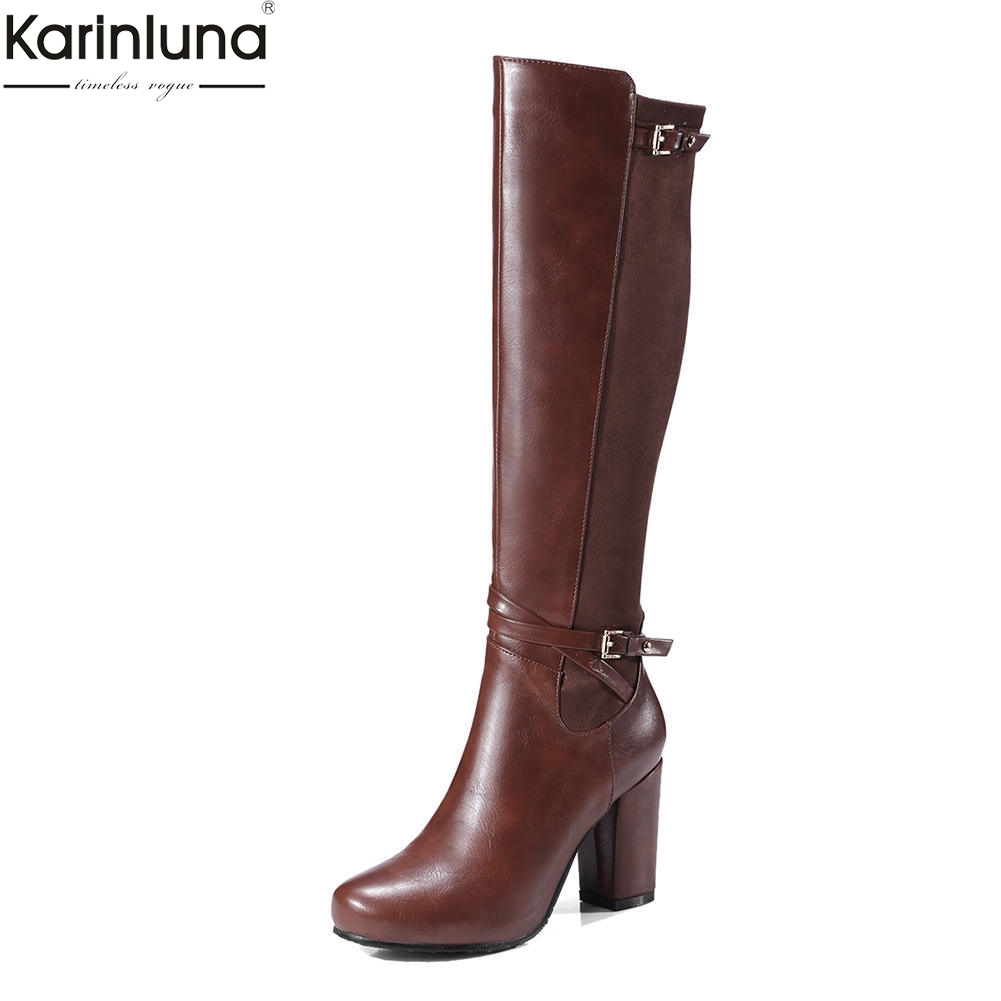 Karinluna new arrivals large size 33 43 chunky high heels knee high boots woman shoes dropship