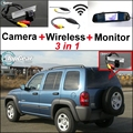 3 in1 Especial Cámara de Visión Trasera + Receptor Inalámbrico + Sistema de COPIA de SEGURIDAD Aparcamiento Monitor del espejo DIY FÁCIL Para Jeep Liberty 2002 ~ 2007