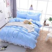 Korean blue Lace bedding set bedspread 4Pcs romantic princess bedclothes bed set duvet cover bed skirt twin full queen king size