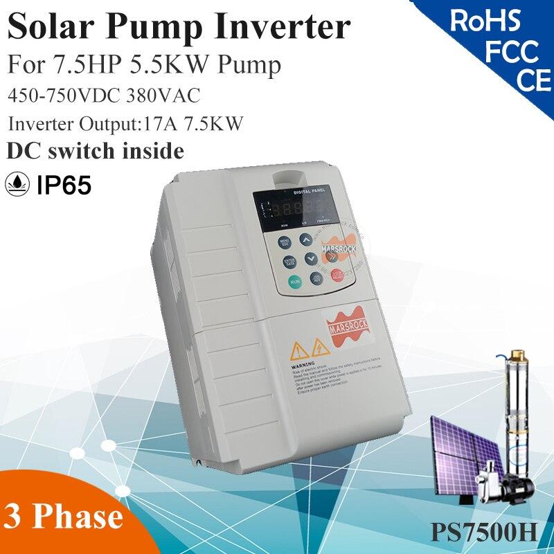 7.5KW 17A 3 phase 380VAC mppt solarpumpenwechselrichter für 7.5HP 5.5KW wasserpumpe DC schalter innen PV solarpumpe controller