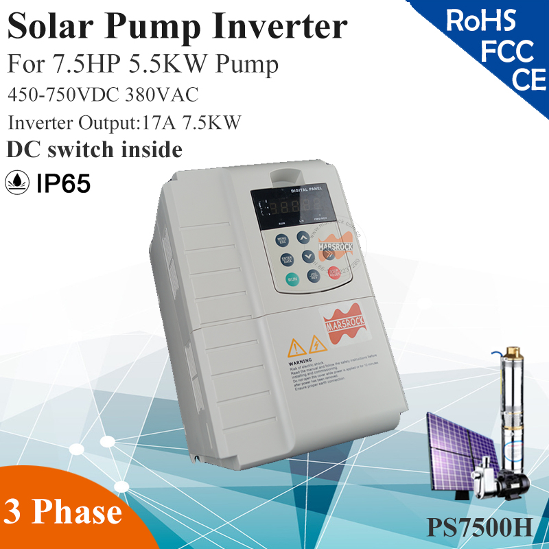 7.5KW 17A 3phase 380VAC MPPT solar pump inverter for 7.5HP 5.5KW water pump DC switch inside PV solar pump controller decen 2200w pv pump 3700w solar pump inverter for solar pump system adapting water head 79 51m daily water supply 20 40m3