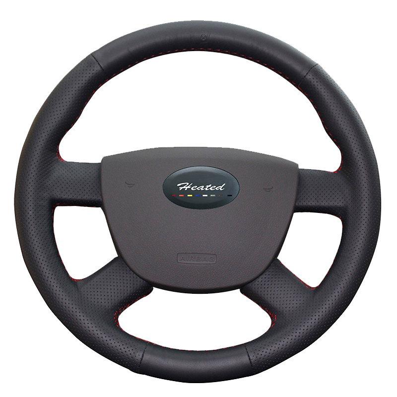 Heated Car Steering Wheel Cover for Ford Focus 2 2005-2011 car styling Microfiber leather car covers Braid on the steering wheel free shipping car styling sew on genuine leather car steering wheel cover car accessories for 2015 2016 new ford mustang