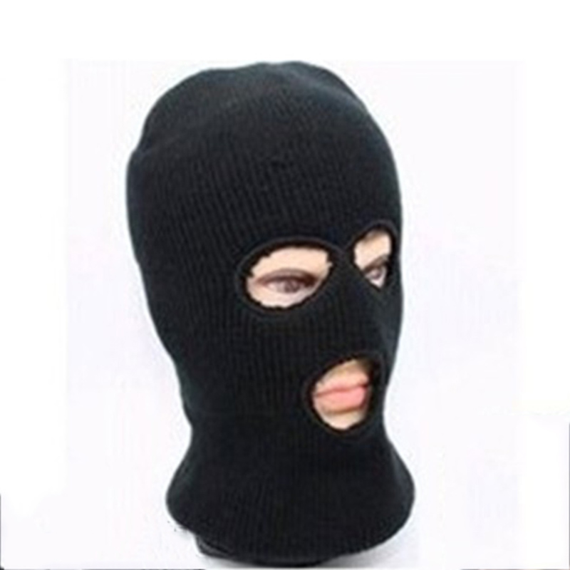 Novelty Women Men Winter Warm Black Full Face Cover Three Holes Mask Beanie Hat Cap Fashion Accessory Unisex Free Shipping 2017 new full face cover mask three 3 hole balaclava knit hat winter stretch snow mask beanie hat cap free shipping