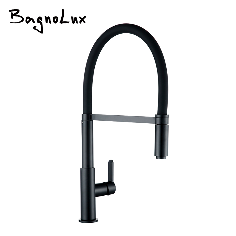 High Arch Single Hole Single Handle Pull Down Sprayer Docking Kitchen Faucet Alba Matt Black Mixer Sink Tap With Spray Head