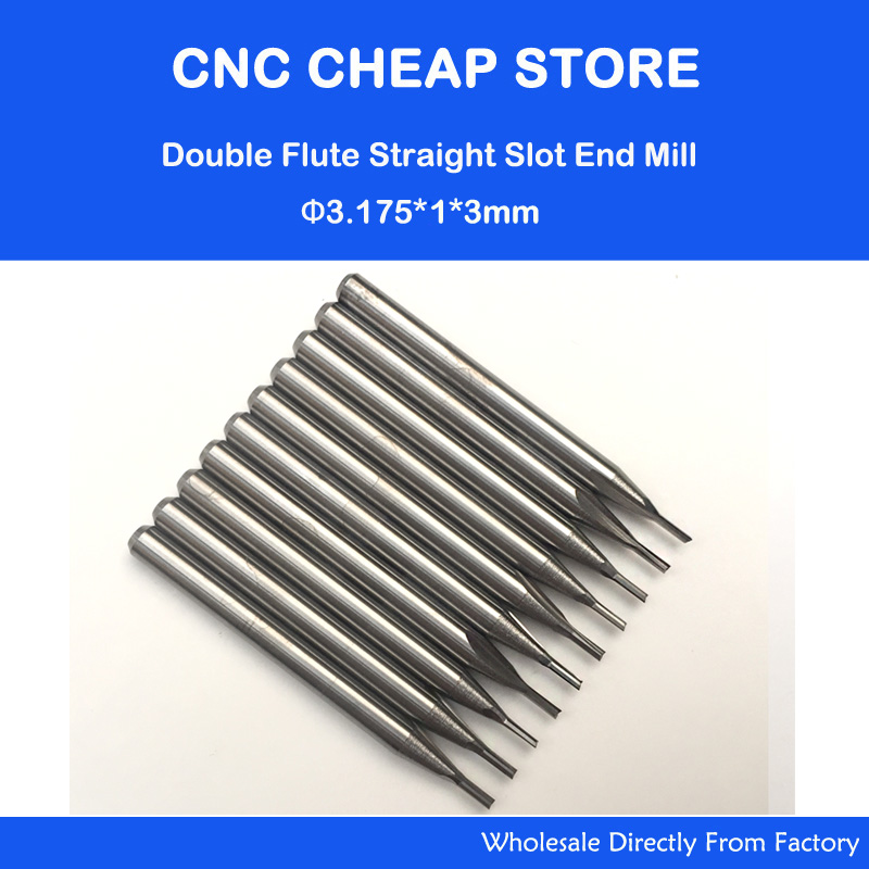 10pcs 3.175mm CED 1mm CEL 3mm Straight Slot Bit Wood Cutter CNC Solid Carbide Two Double Flute Bits CNC Router Bits 5pcs double flute straight slot sticker cnc engraving router bits mill cutter solid wood carving tool cel 35mm