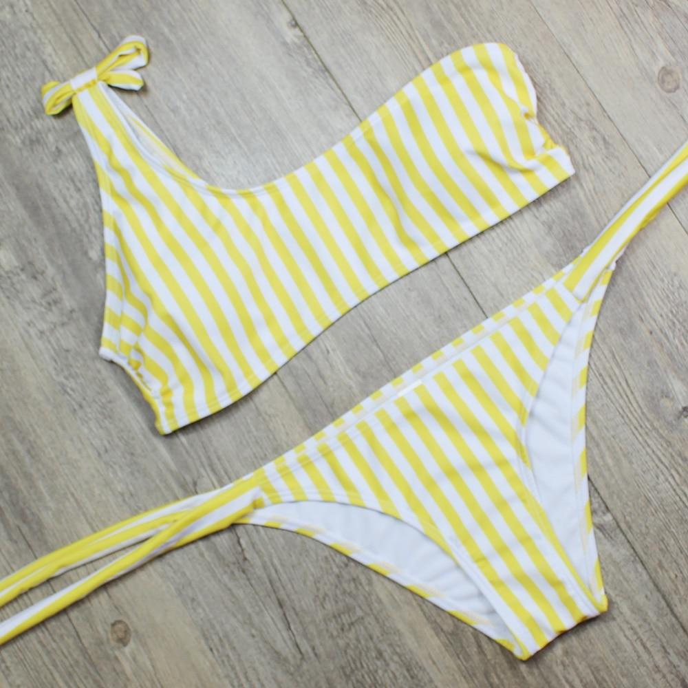P&j 2018 Sexy One Shoulder Bikini two pieces swimsuit female Swimwear Women Bikini Set Bathing Suit swim biquini